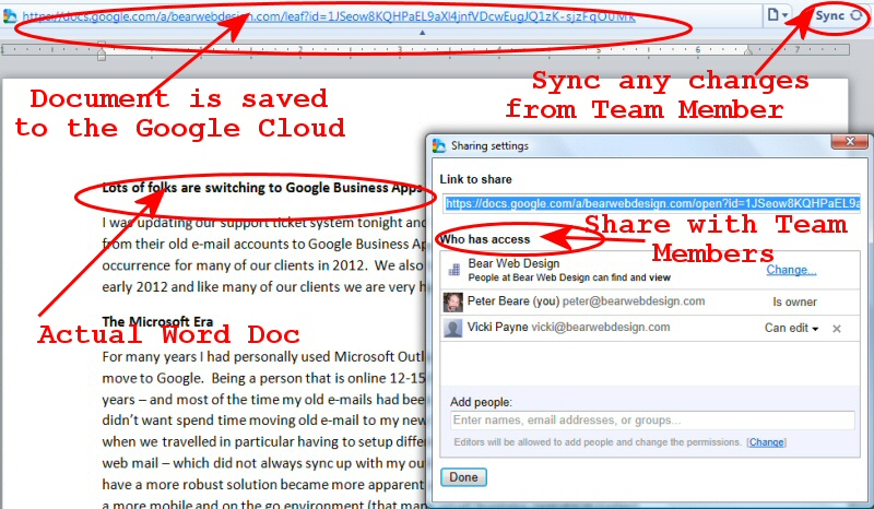 Google Business Apps Document Sharing